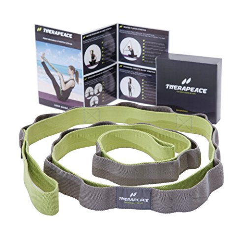 TheraPeace Physical Therapy Stretching Strap + EasyGuide: Elastic Stretch Band with 10 Loops - Yoga Workout Fitness Pilates Ballet Rope Stretcher for Foot Legs Hamstring Back by TheraPeace