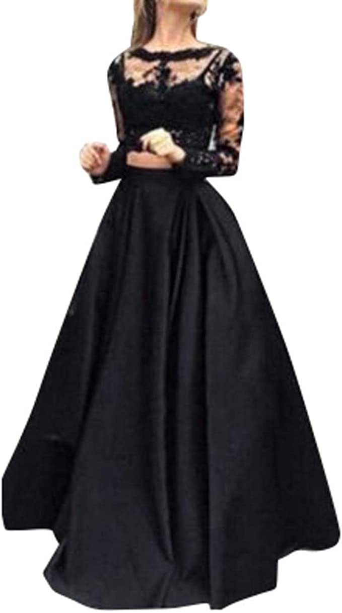 Aiserkly Sexy Abendkleid Set Schwarz Damen Maxi-Rock Spitze Bluse