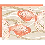 PAPER SOURCE // DELUXE BOXED STATIONERY // KOI (CARP - GOLDFISH) LETTERPRESS WITH GOLD FOIL THEMED NOTE CARDS // Elegant,nature,animal,party,invite,thank you,correspondence.hello,greeting