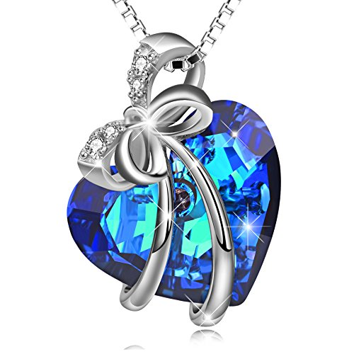 LONAGO 925 Sterling Silver Neckalce Heart of The Ocean Pendant Necklace Heart Blue Crystals Necklace Bow-Knot Neckalce Gift for Mother Women Girls