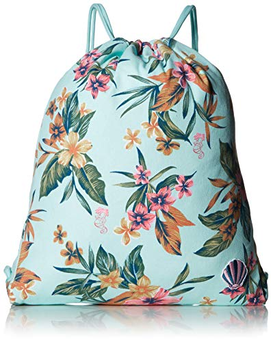 (Roxy Girls' Big Little Mermaid Light As a Feather Sack Backpack, wan blue heritage floral, 1SZ)