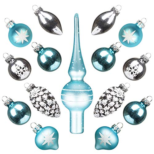 KINGYEE Miniature Ornaments and Tree Topper Christmas Mini Glass Tree Decorations Set of 15 for Tabletop Desktop Tree Wedding Centerpiece (Snow White Blue)