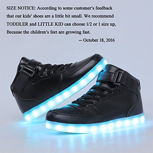 CIOR Kids Boy and Girl's High Top Led Sneakers Light Up Flashing Shoes(Toddler/Little Kid/Big Kid),101C,01,35