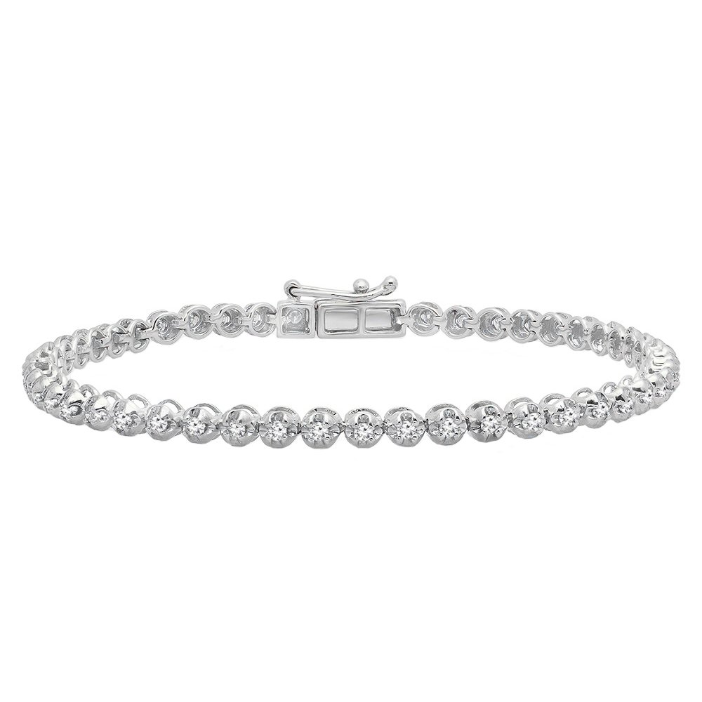 1.00 Carat (ctw) 10K White Gold Round Cut White Diamond Ladies Tennis Bracelet 1 CT