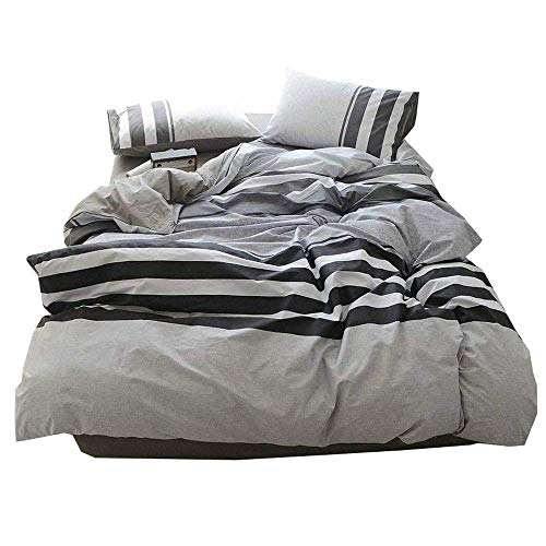 (3 Piece Cotton Striped Duvet Cover Set Twin Hotel Quality Reversible Luxury Bedding Set Lightweight Kids Men Boys Duvet Comforter Cover Set for Teens Adults Modern Twin Bedding Collection)