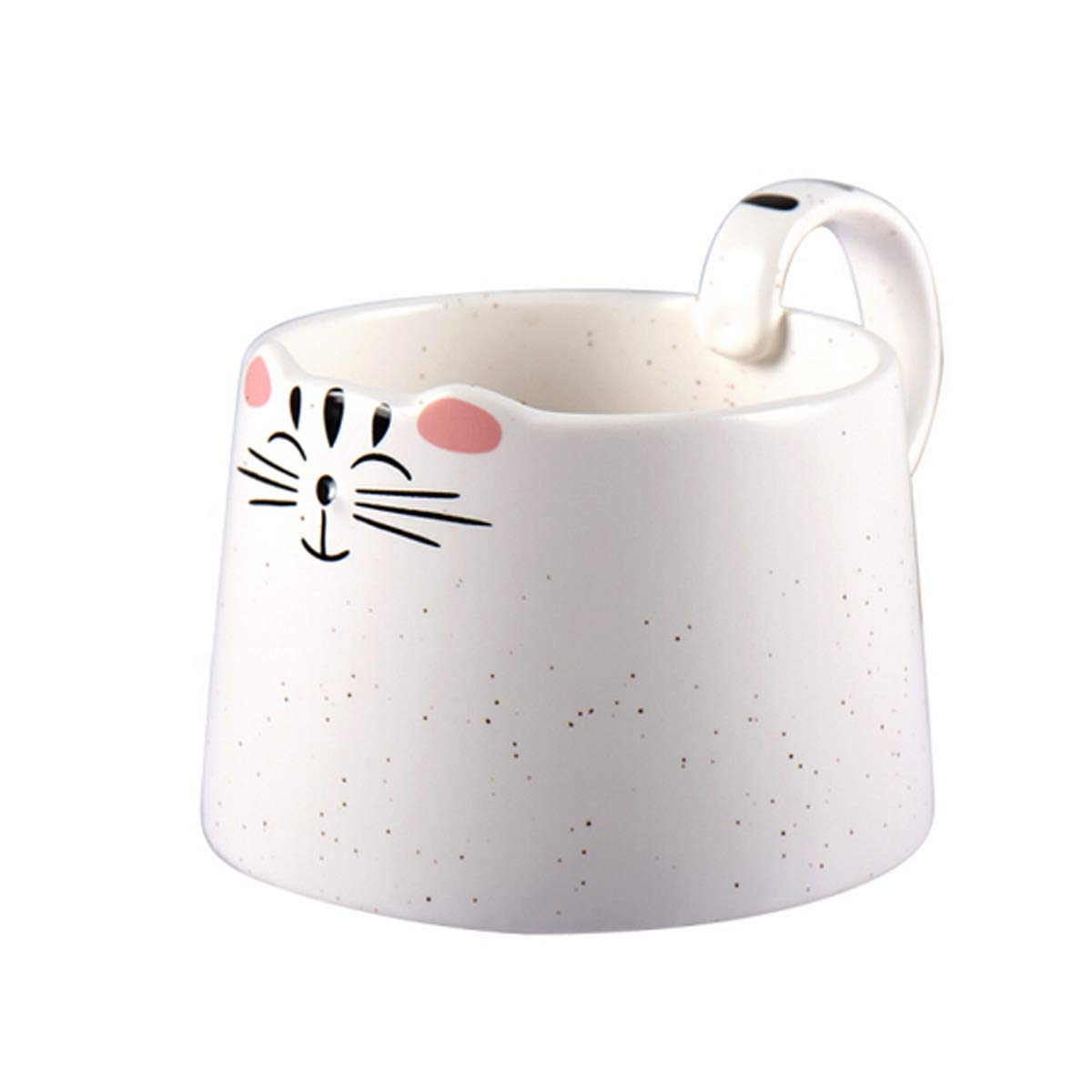 Shengshihuizhong Creative Cup Cute Cartoon Cup Ceramic Coffee Cup Couple Cup Breakfast Milk Cup - White Drinking Cup