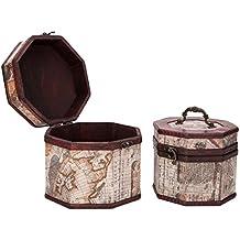 Vintage Style World Map Pattern Wooden Octagon Jewelry Treasure Box Storage Organizer Trinket Keepsake Chest Set of 2