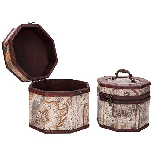 Vintage Style World Map Pattern Wooden Octagon Jewelry Treasure Box Storage Organizer Trinket Keepsake Chest Set of 2