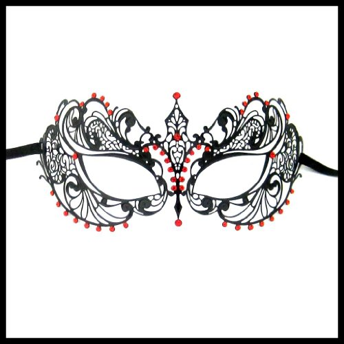 Luxury Mask Women's Laser Cut Metal Venetian Pretty Masquerade Mask, Black/Red Stones, One Size -