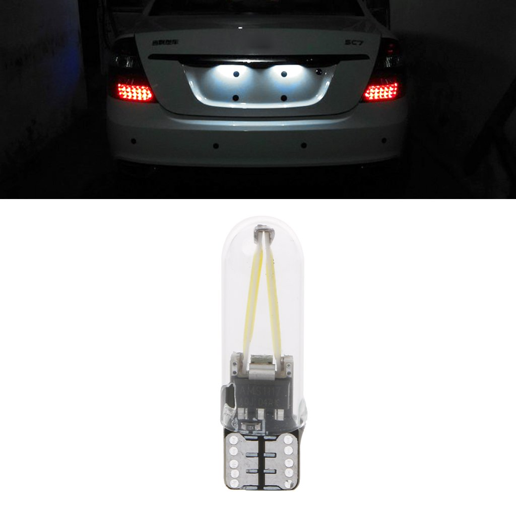 Forgun DC 12V T10 194 168 W5W COB LED CANBUS Glass Car License Plate Light Bulb White