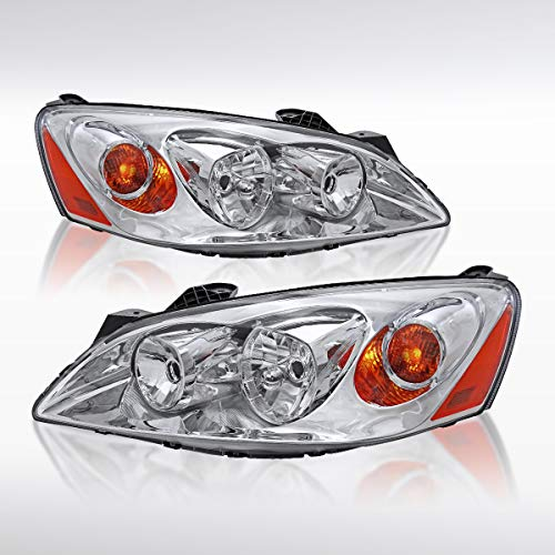 (Autozensation For Pontiac G6 Replacement Chrome Headlights Lamps w/Amber Reflector Pair )