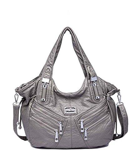 Shoulder Tote Grey Large Women Fashion Pu Handbags Leather Bags Hobo Capacity qE7n74v5