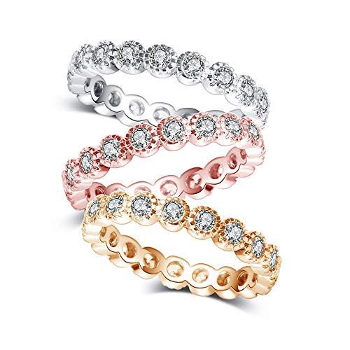 - CRARINE Women's Stacking Rings Bezel Zirconia Fashion Stackable Eternity Band Plated Pink Gold White Gold Yellow Gold 3 PCS Set
