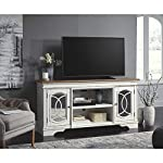 Signature Design by Ashley Realyn Extra Large TV Stand with Fireplace Option Chipped White