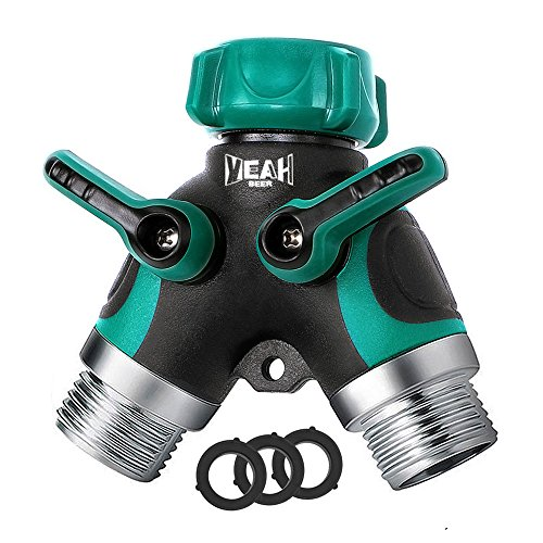 (YEAHBEER Garden Hose Splitter,2 Way Hose Connector, with 3/4 Connector - Comfortable Rubberized Grip(3 Free Washers) (Green))
