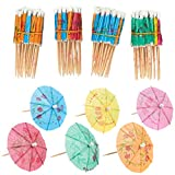 Juvale Pack of 200 Umbrella Drink Picks - Cocktail Parasols - Value Pack, Assorted Colors, 4 inches