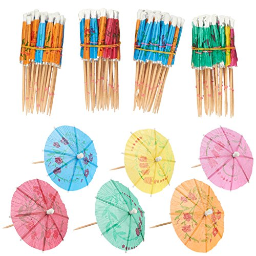 Juvale 200-Pack Tropical Hawaiian Party Paper Cocktail Drink Umbrella Parasols, Assorted Colors, 4 Inches]()