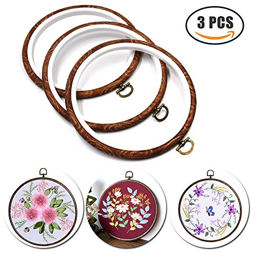 3 pcs 5 Inch Round Embroidery Hoop Bulk Imitated Wood Cross Stitch Hoop Ring For Art Craft Handy Sewing and Hanging by Erlvery DaMain