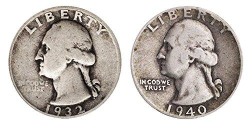 - Count of 2-90% Silver Washington Quarters .50c Face 1/4 Grade Fine or better
