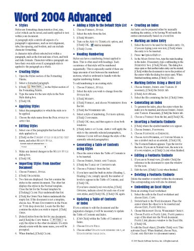 Mac Word 2004 Advanced Quick Reference Guide (Cheat Sheet of Instructions, Tips & Shortcuts - Laminated Card) Beezix Inc