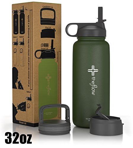 Olive Green Football (the flow Stainless Steel Water Bottle Double Walled/Vacuum Insulated - BPA/Toxin Free – Wide Mouth with Straw Lid, Carabiner Lid and Flip Lid, 32 oz.(1 Liter) Olive)