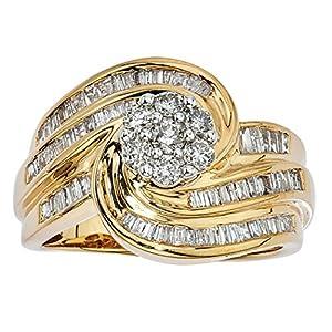 1ct Diamond Swirl Bridal Ring 10K Gold