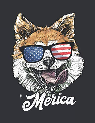 Notebook: Merica Corgi Usa American Flag Sunglasses July 4th Journal & Doodle Diary; 120 White Paper Numbered Plain Pages for Writing and Drawing - 8.5x11 ()