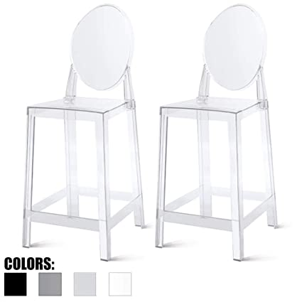 Amazoncom 2xhome Set Of Two 2 Clear 25 Seat Height Barstool
