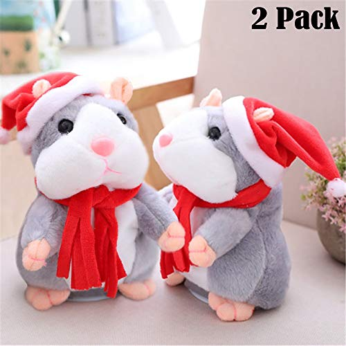 Funfunman 2PCS Cheeky Hamster Talking Mouse pet Christmas Toy Speak Sound Record Hamster Gift - Gray (Christmas Cheeky Gifts)