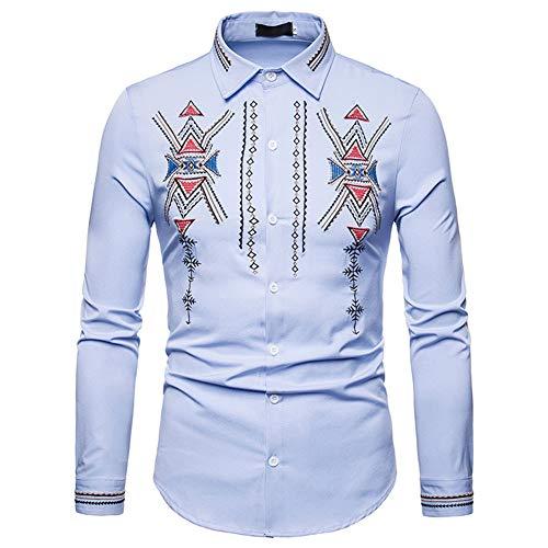 Cuello Larga Casual Corte Con Henry Manga Para Moda Camisa Código Zx Ou Viento De Los Camisas Hombres Azul 1qZW6O