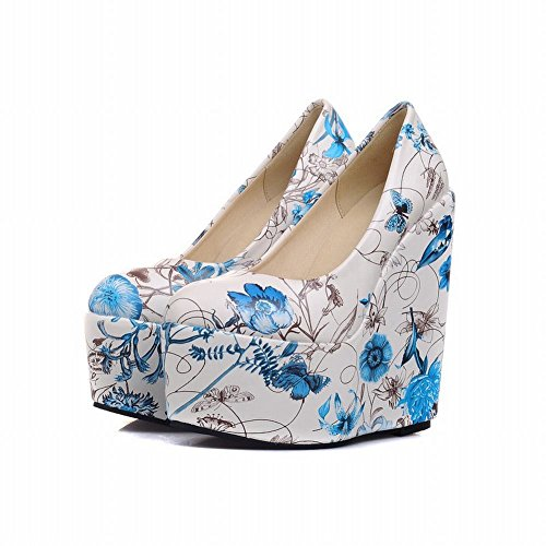 Charm Foot Fashion Floral Print Mujeres Platform Cuña Bombas Zapatos Azul
