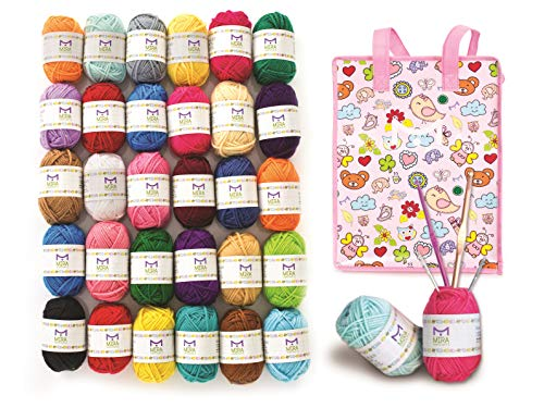 Mira Handcrafts 30 Acrylic Yarn Balls | Total of 1312 Yards Crochet and Knitting Multicolor Yarn | Complete DK Yarn Craft Kit Including 2 Hooks, 2 Weaving Needles,7 Ebooks with Patterns, Storage Bag
