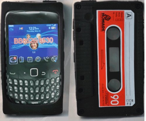 (Phonedirectonline- Black Cassette Silicone case Cover Pouch for BlackBerry Curve 8520)
