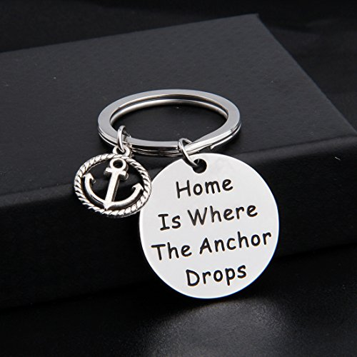 Zuo Bao Nautical Jewelry Anchor Keychain Home Is Where The Anchor Drops Ocean Jewelry Gifts (Keychain) by Zuo Bao (Image #1)