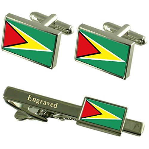 Boutons de manchette Drapeau Guyana Cravate gravé Coffret Correspondance