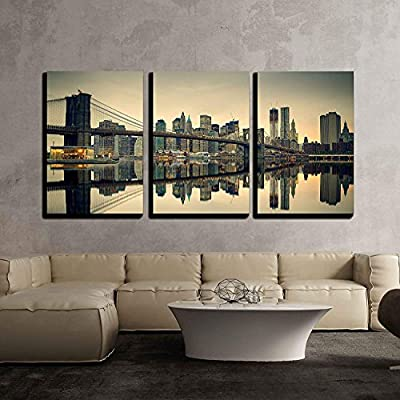 Brooklyn Bridge and Manhattan at Dusk, New York City - Canvas Print
