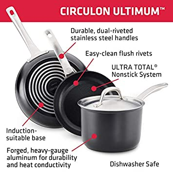 Circulon Ultimum Forged Aluminum Nonstick Deep Skillet, 9.75-Inch, Black