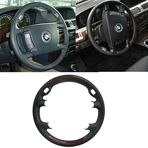 Pursuestar Black Leather Brown Wood Steering Wheel Protector Cover for 2002-2008 BMW 4-Spokes E65 E66 7 Series 730i 735i 740i 745i 750i 760i 760li 730d 740d 745d