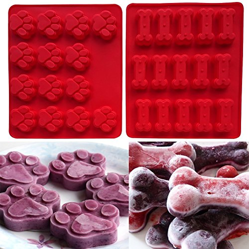 AxeSickle 2 Pack Set (Puppy) Silicone Baking Molds Ice Cube Trays Cake Chocolate Candy Pans Dog Treats Food Grade Paws and Bones Silicone Mold,lce Cube Mold,Soap Mold, Muffin pan,Cupcake Baking mold.