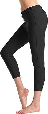 KEEPRONE Women's Swim Pants High Waist Tummy Control Long Swimming Tights UPF 50+ Capris Built-in Liner Outdoor Sport Leggings