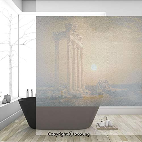 (3D Decorative Privacy Window Films,Antique Ancient Rome Empire Monuments Columns Statues with Sun Picture,No-Glue Self Static Cling Glass Film for Home Bedroom Bathroom Kitchen Office 36x36 Inch )