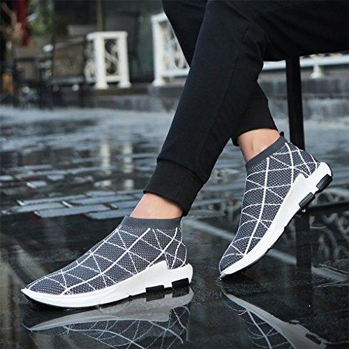 SITAILE Herren Leichte Mode Turnschuhe Outdoor Atmungsaktive Sportschuhe Laufschuhe Linien dunkelgrau
