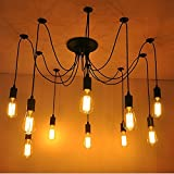 Awon AW168293 10 Lights Vintage Edison Multiple Ajustable DIY Ceiling Spider Lamp Light Pendant Lighting Chandelier Modern Chic Industrial Dining