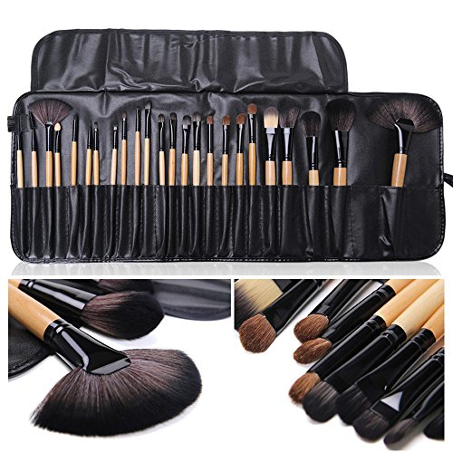 Moonight Professional 24pcs Makeup Brush Set|Makeup Brushes Set - Pro Cosmetic Makeup Brush Set Kit w/Leather Case - For Eye Shadow, Blush, Concealer