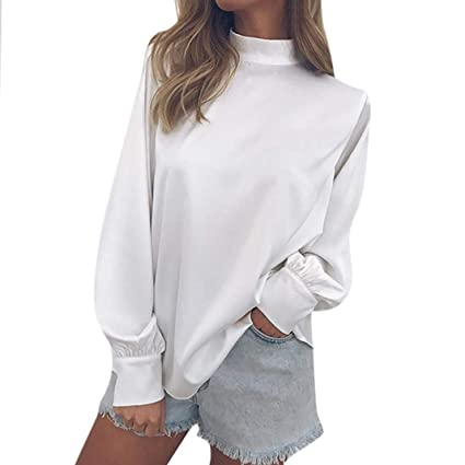 441a4d817d4 Image Unavailable. Image not available for. Color  Hilotu Casual Tops Fashion  Womens Chiffon Solid T-Shirt Office Ladies Long Sleeve Lantern Sleeve