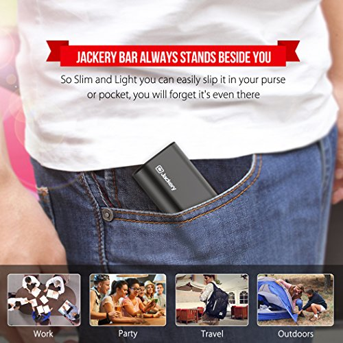 Jackery Premium 6000mAh mobile or portable Charger Jackery Bar strength Bank using 21A source and 2A source Panasonic Cells and light in weight aluminum Shell for iPhone 7 7 Plus iPad Galaxy some other smart appliances Black Holiday Gifts