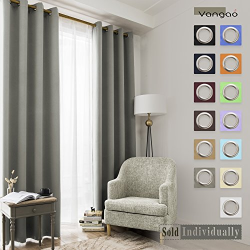 Vangao Grey Blackout Curtains Thermal Insulated Room Darkening Curtain Panels Grommet Top Window Decorative Drape for Bedroom/Living room, 1 Panel, 52x84 Inch (Decorative Window Panels)