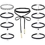 Floweralight 9 Pcs Black Chokers Length Adjustable Velvet Gothic Necklace Pendent for Women