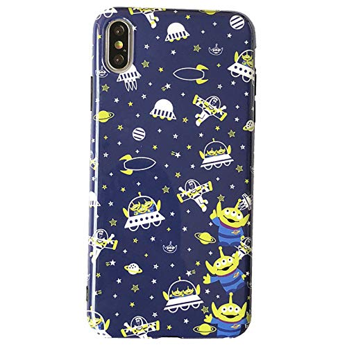 (Soft TPU 3 Space Aliens Phone Case for Apple iPhone X XS iPhoneXS Blue Green Color Outer Pixar Disney Toy Story Cartoon Ultra Slim Smooth Cute Lovely Unique Cool Fun Gift Kids Boys Son Men Daughter)