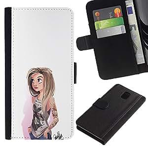 Protector de cuero de la PU de la cubierta del estilo de la carpeta del tirón BY RAYDREAMMM - Samsung Galaxy Note 3 III - Chica emo
